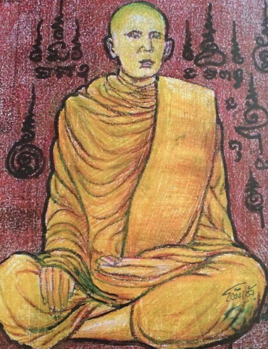 ภาพวาดหลวงพ่อโต วัดเนินสุทธาวาส ชลบุรี